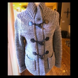 Gray with Black detail Zip/Toggle Cozy Cardigan